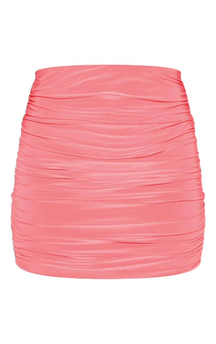 Mini-jupe moulante slinky froncée corail 3