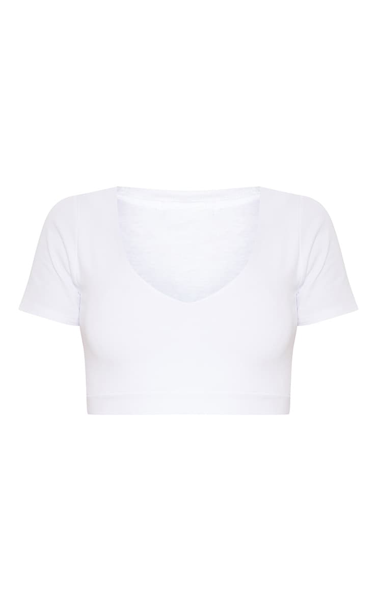 White Plunge Neck Crop T Shirt 3