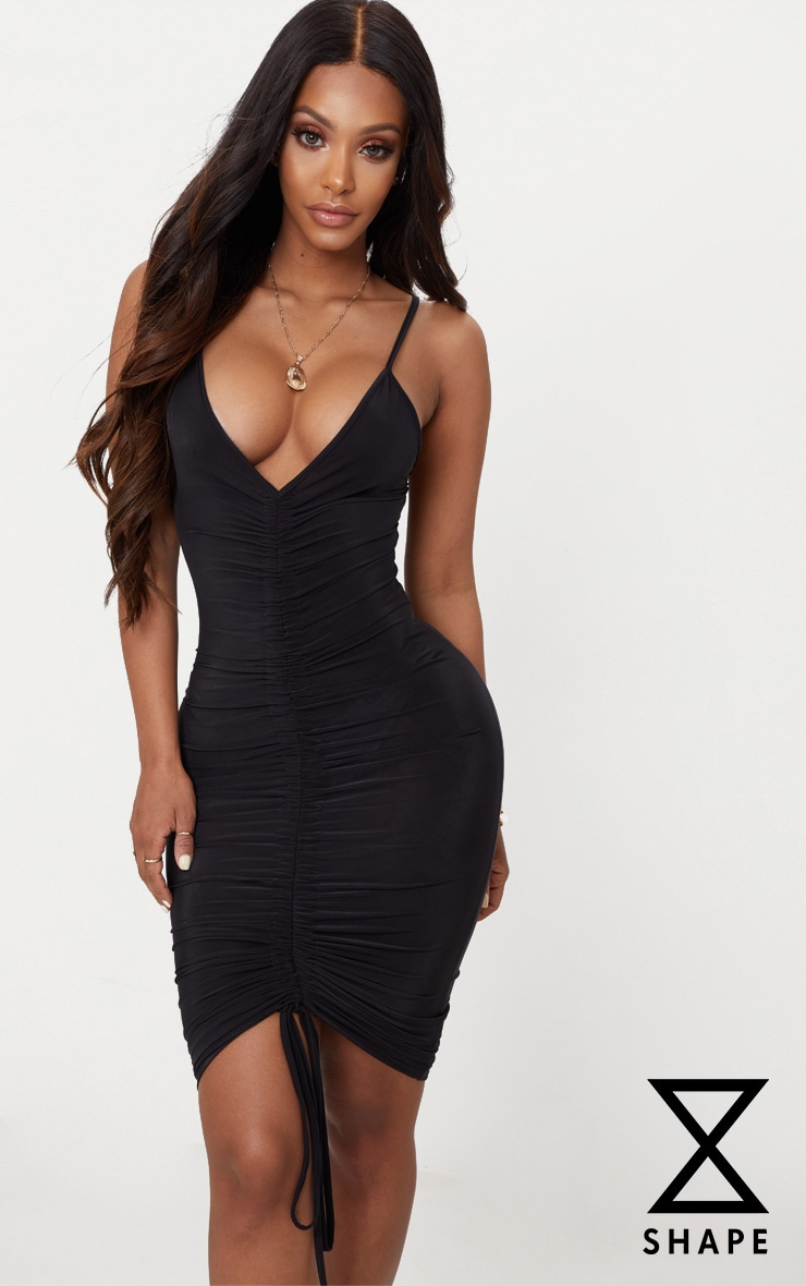 Shape Black Slinky Ruched Strappy Midi Dress 1