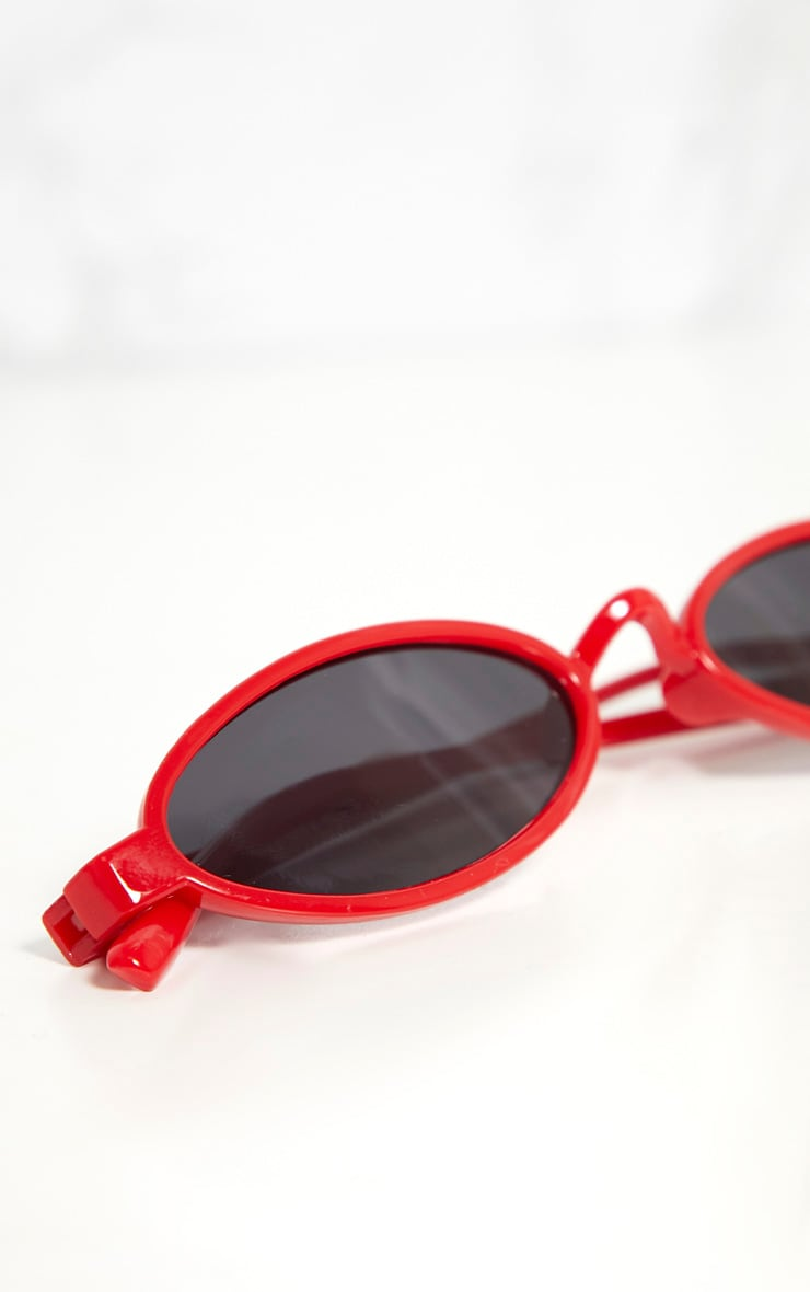 Red Small Oval Sunglasses 4