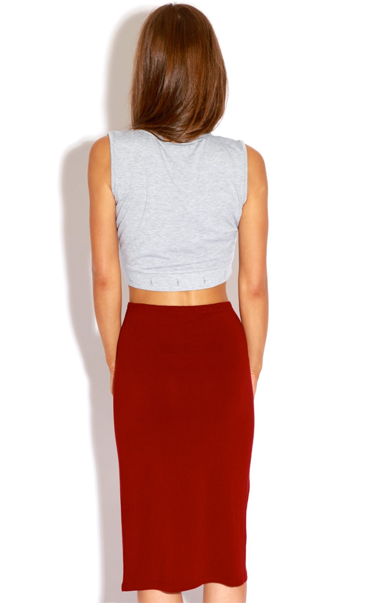 Marie Burgundy Basic Midi Skirt 5