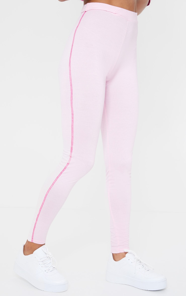 Baby Pink Contrast Stitch Legging 2