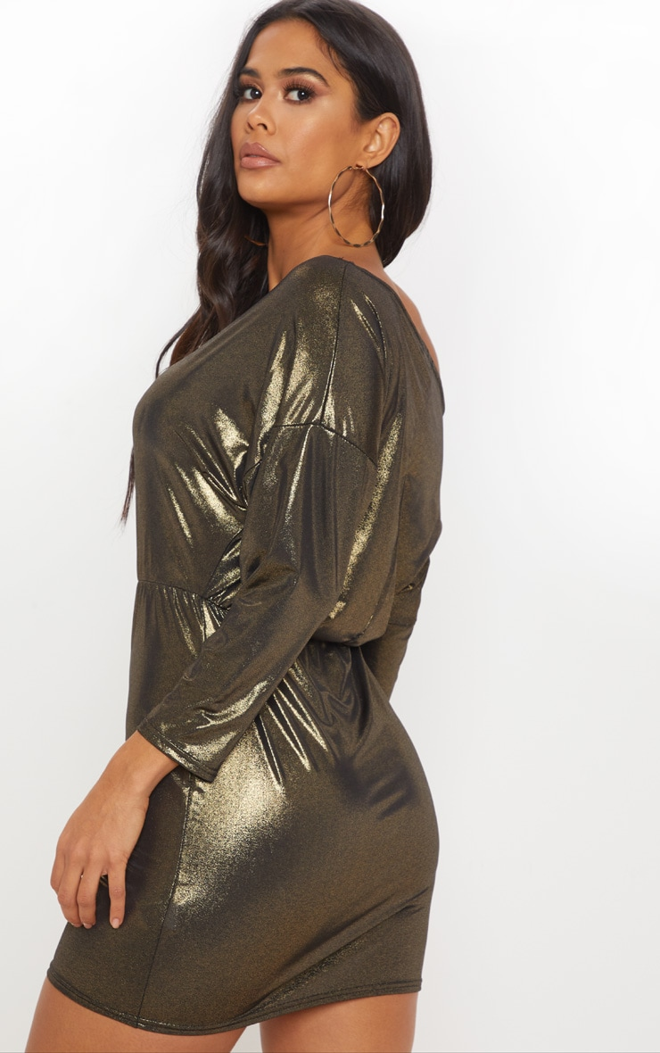 Gold Metallic Off Shoulder Bodycon Dress 2