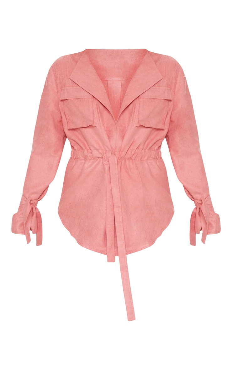 Petite Rose Faux Suede Cargo Ruched Waist Shirt 3