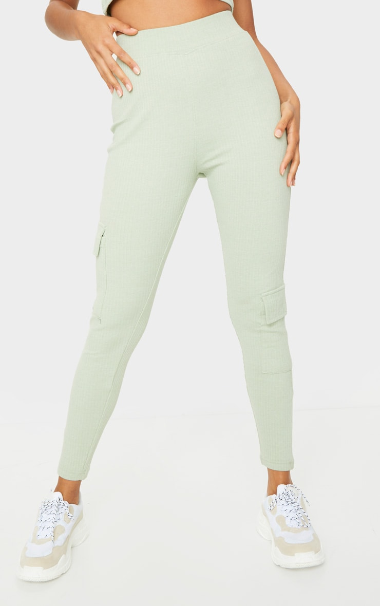 Sage Green Ribbed High Waist Pocket Detail Leggings 2