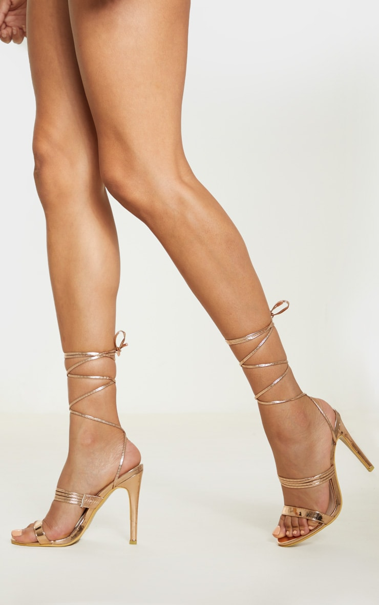 Rose Gold Thin Strappy Lace Up Heels 2