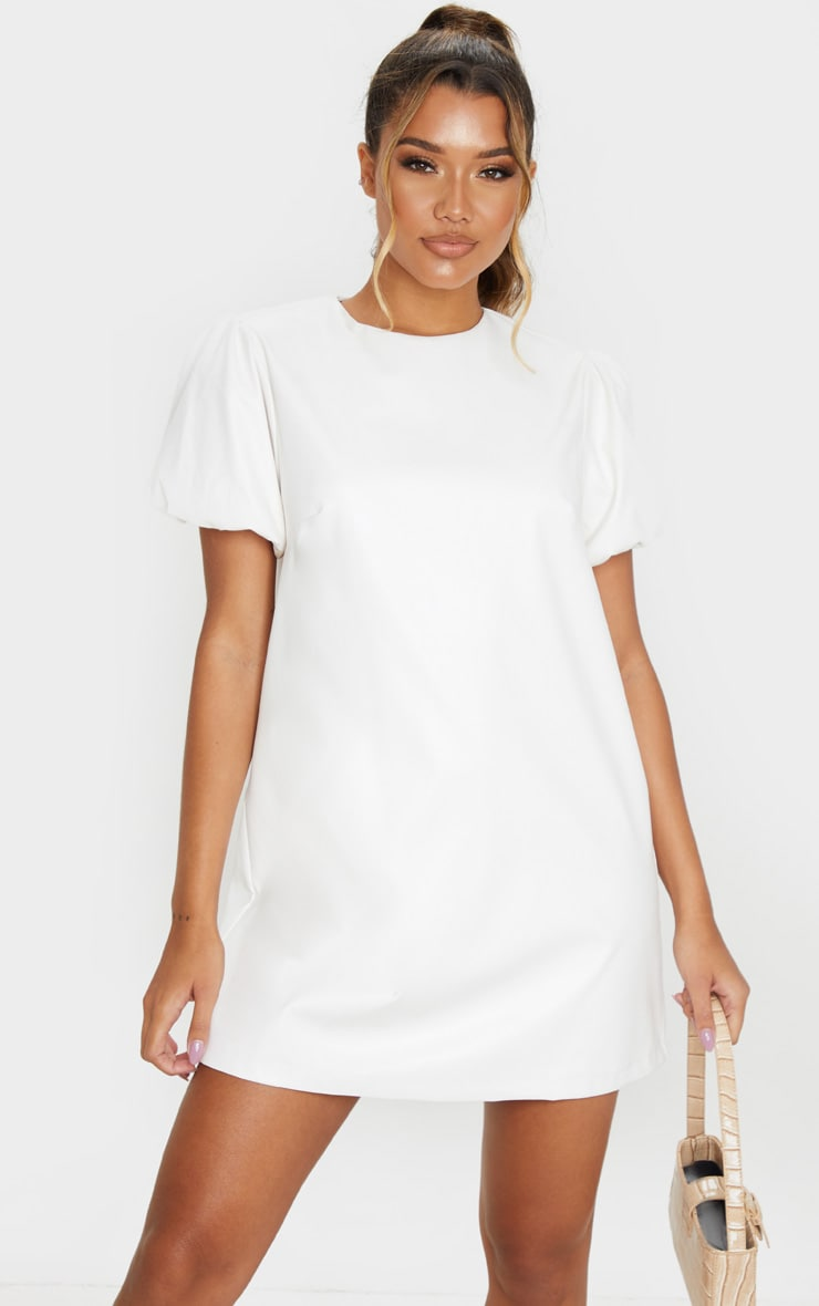 White Faux Leather Puff Sleeve Shift Dress  1