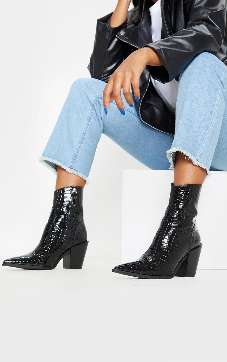 Black Croc Point Toe Western Heel Ankle Boot image 1