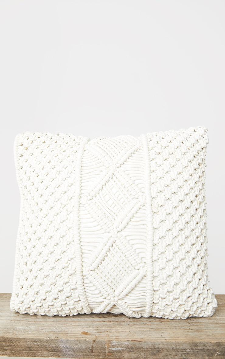 Natural Woven Macrame Filled Cushion 4