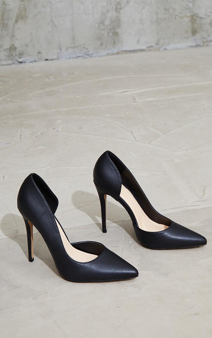 Black Point Toe Cut Out Side Stiletto Court Shoes 4