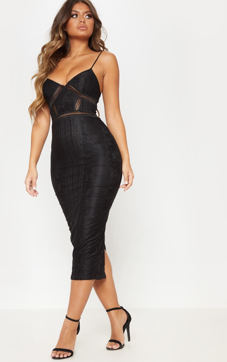 Black Lace Mesh Stripe Insert Midi Dress 1