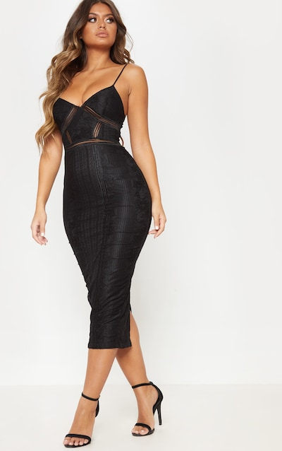 f7f6341676 Black Lace Mesh Stripe Insert Midi Dress