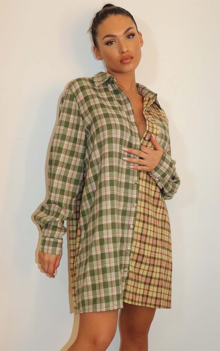 Olive Multi Two Tone Checked Shirt Dress 1