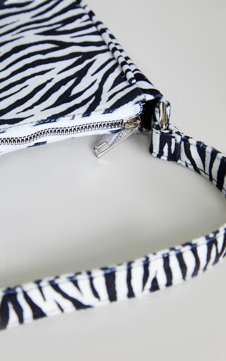 Monochrome Zebra Velvet Shoulder Bag 4