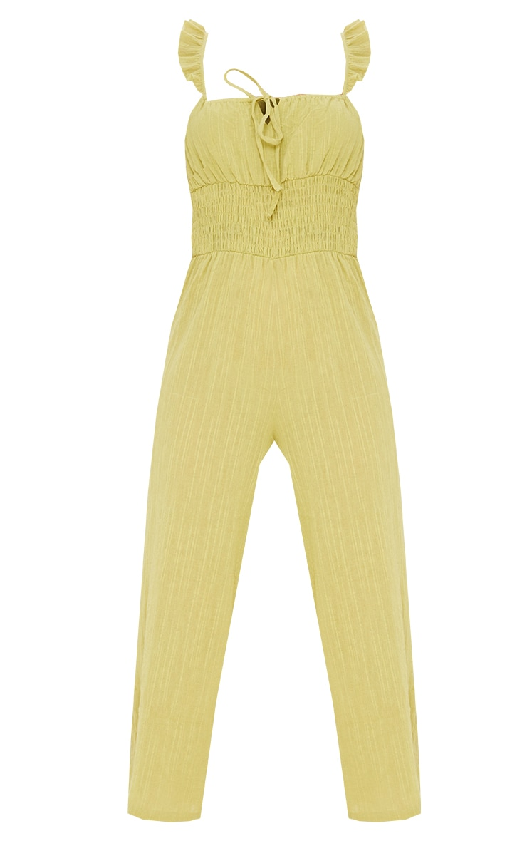 Lime Shirred Waist Frill Strap Culotte Jumpsuit 5