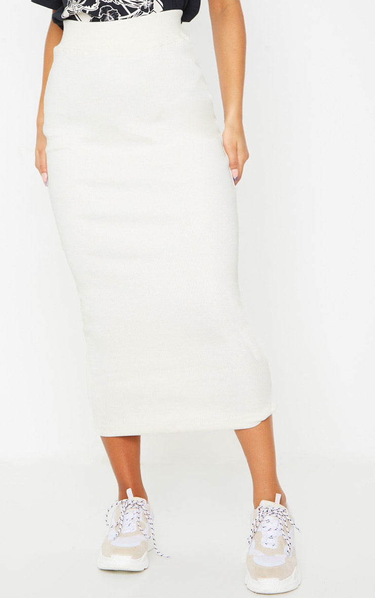 Cream Structured Rib Bodycon Midaxi Skirt 2