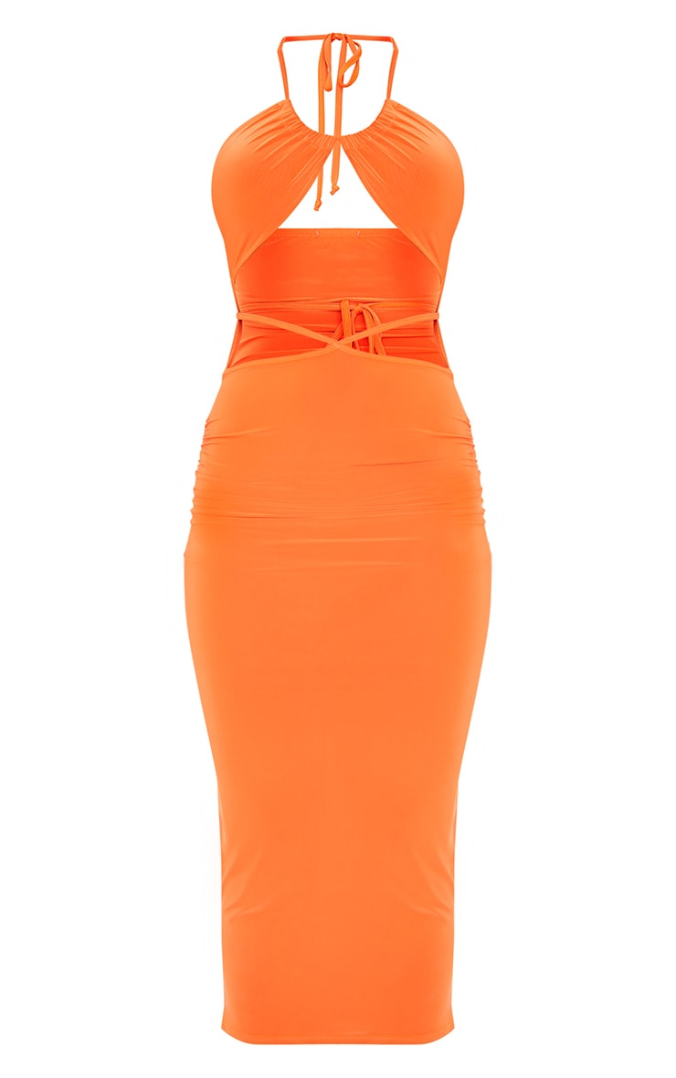 Orange Slinky Halterneck Cut Out Strappy Detail Midaxi Dress 5
