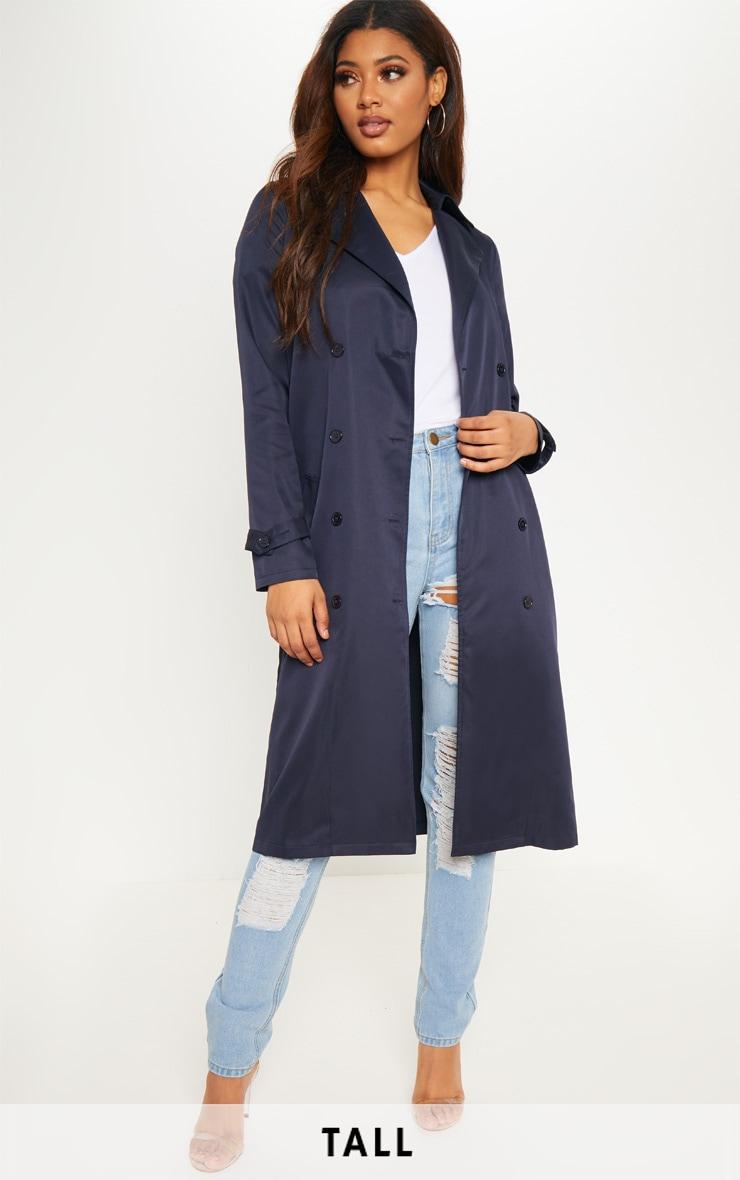 Tall Manteau long oversized bleu marine. Tall   PrettyLittleThing FR c7ceff294fb3