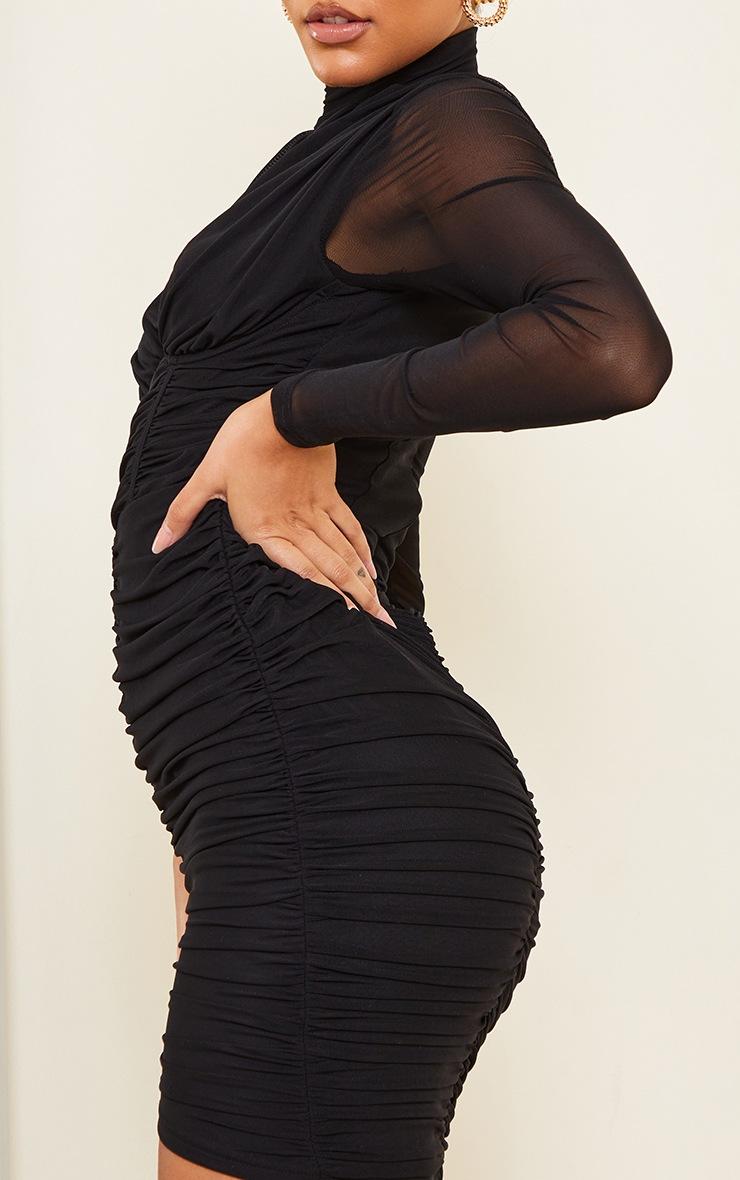 Black High Neck Mesh Ruched Binding Detail Bodycon Dress 4