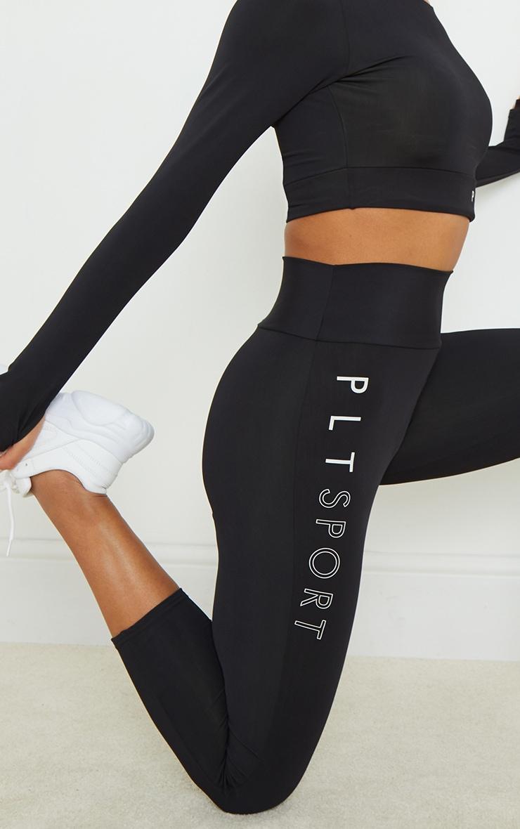PRETTYLITTLETHING Black Cropped Gym Leggings 4