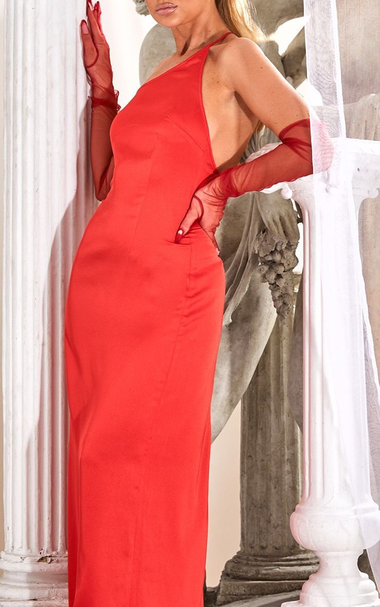 Red Strappy One Shoulder Satin Maxi Dress 4