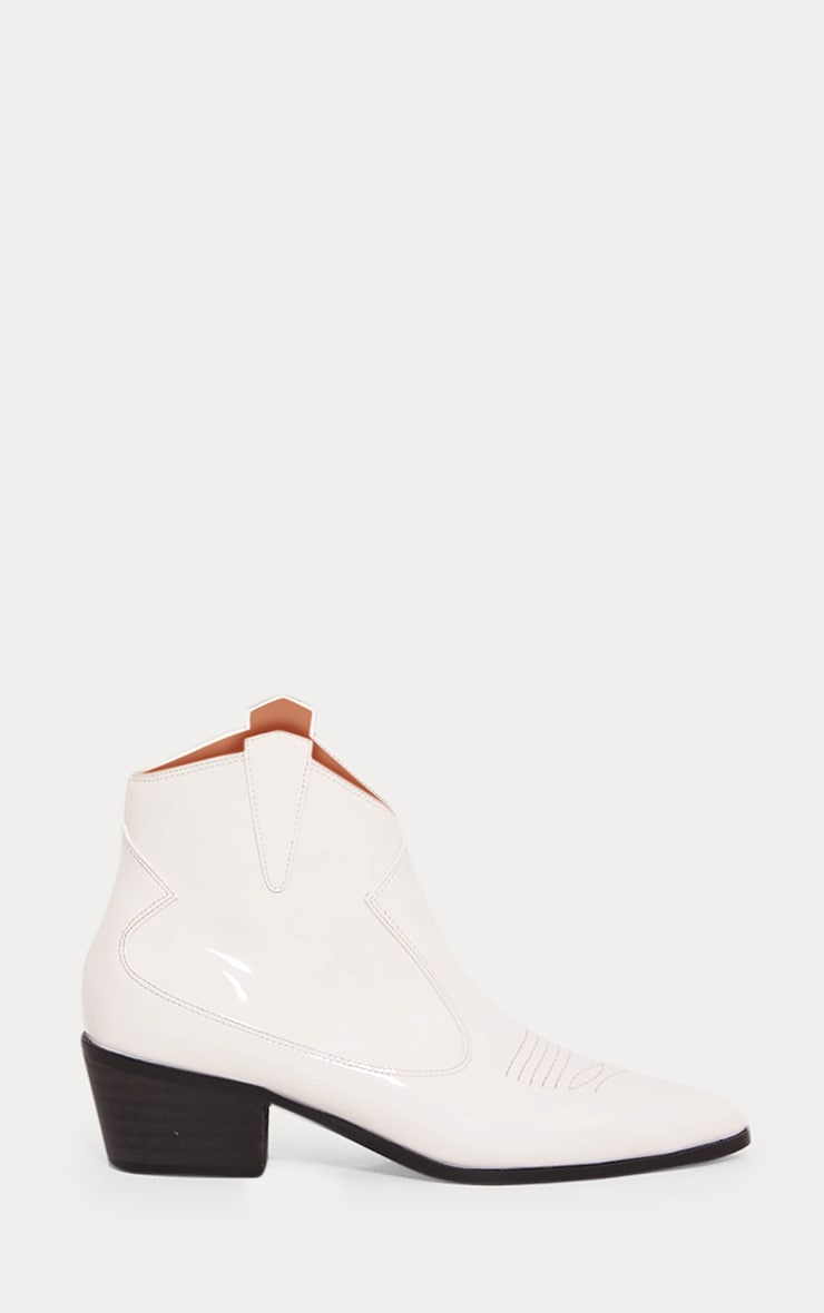 White Patent Western Ankle Boot 3