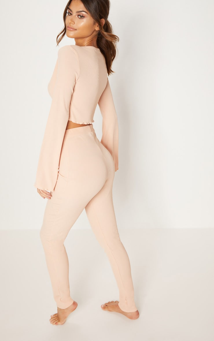 Shop Online Great Deals For Sale PRETTYLITTLETHING Pale Ribbed Flare Sleeve Long PJ Set Outlet 100% Guaranteed leepkYq