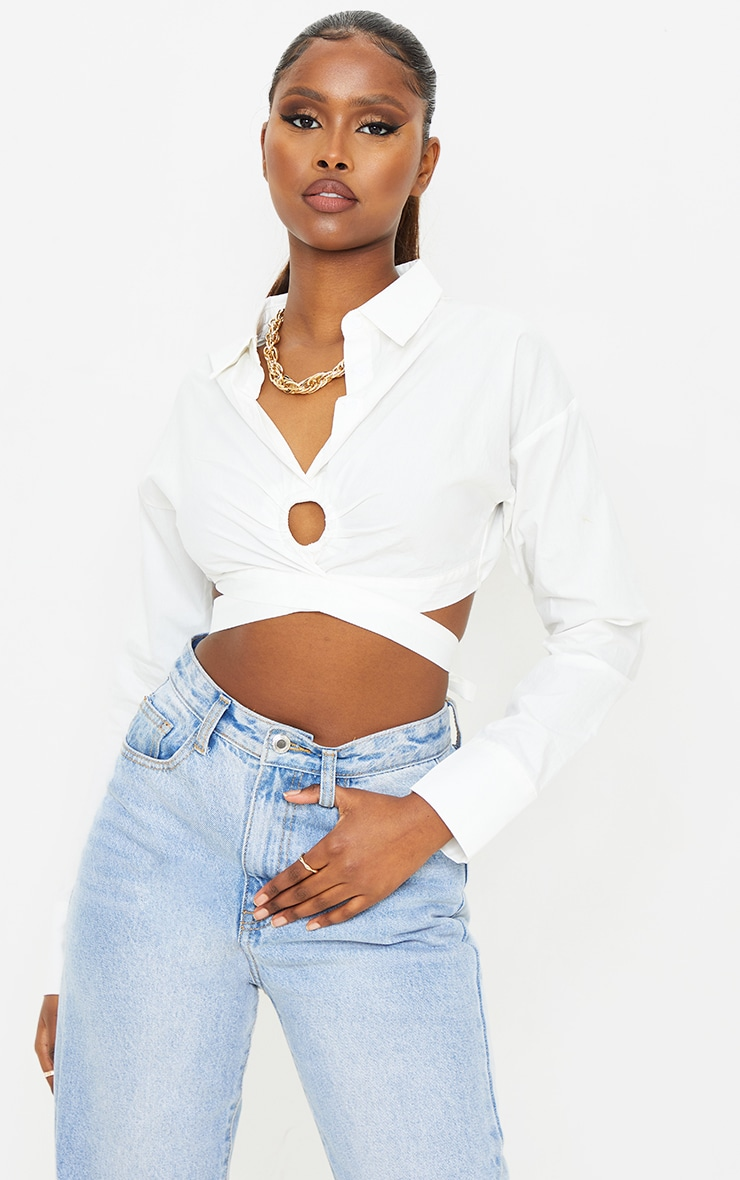 White Woven O Ring Cropped Shirt 1