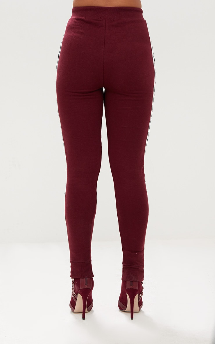 Burgundy Side Stripe Joggers 4