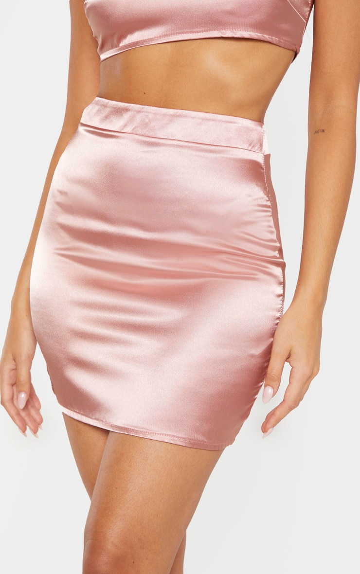 Dusty Rose Satin High Waist Mini Skirt 6