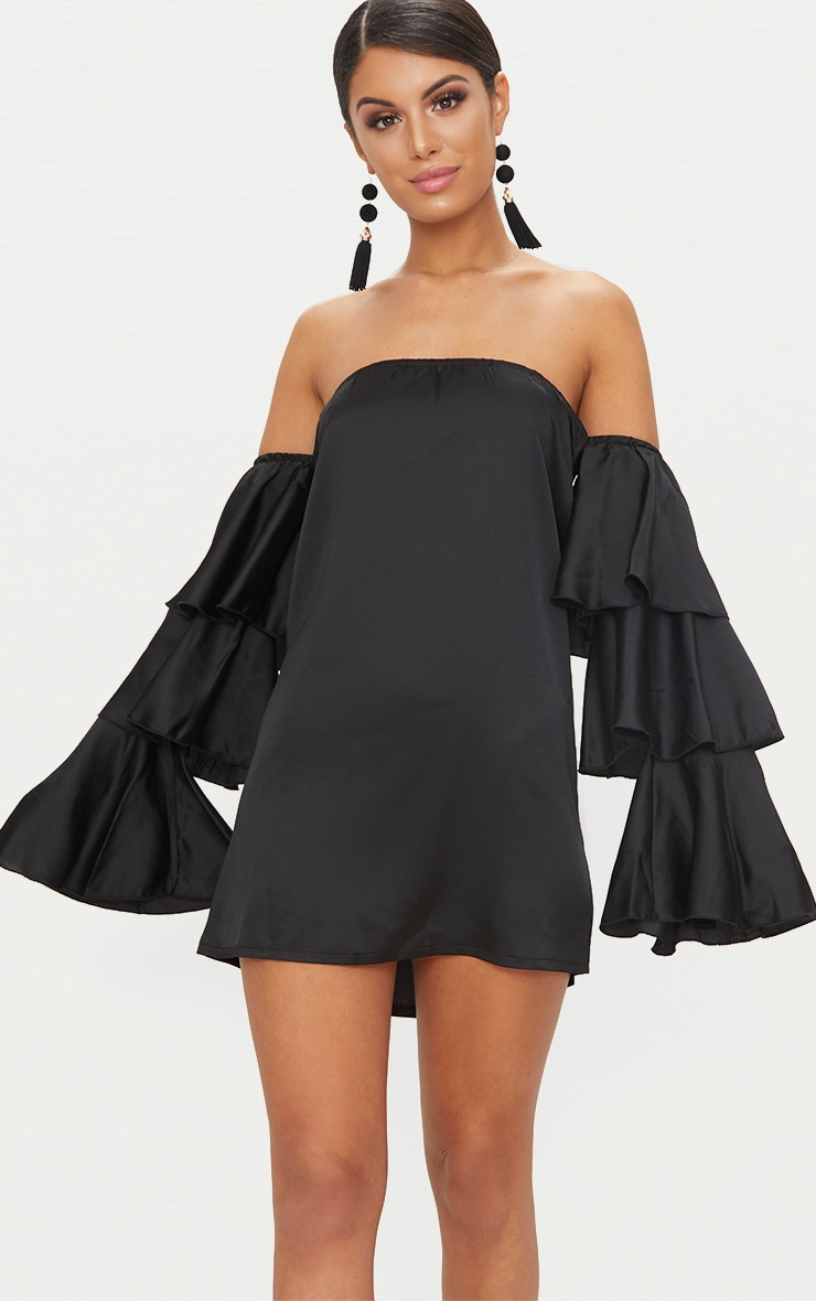 Black Bardot Ruffle Sleeve Satin Shift Dress 1