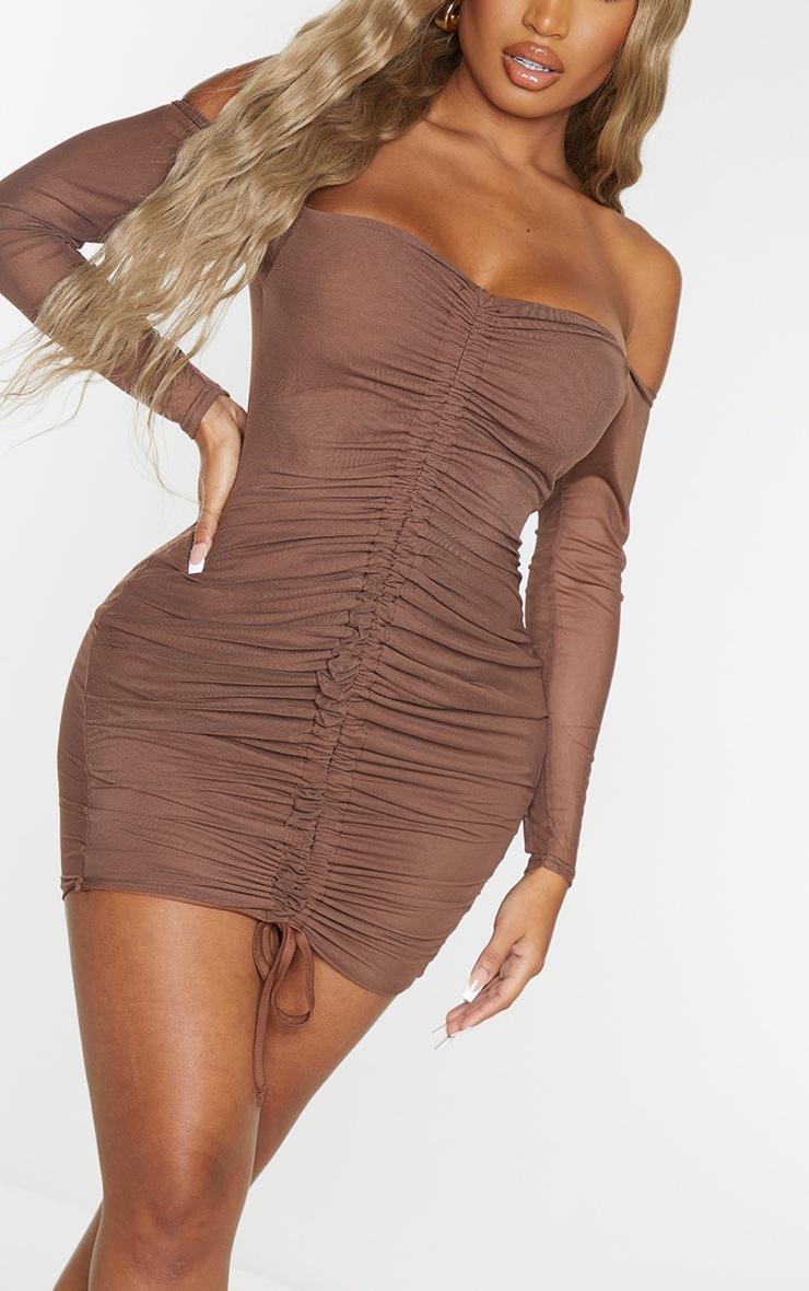 Shape Chocolate Brown Mesh Ruched Bardot Bodycon Dress 4