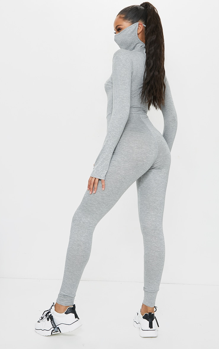 Grey Marl Long Sleeve Mask Jumpsuit 2