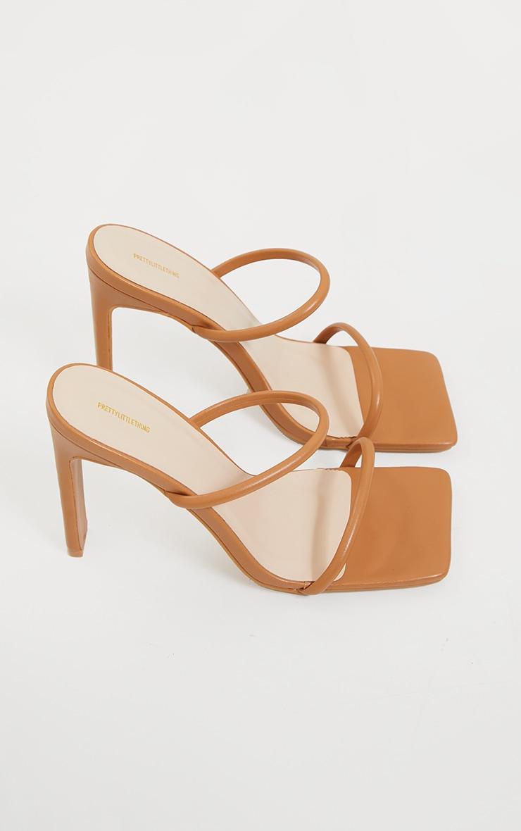 Tan PU Extreme Square Toe Twin Strap Mule High Heel 4