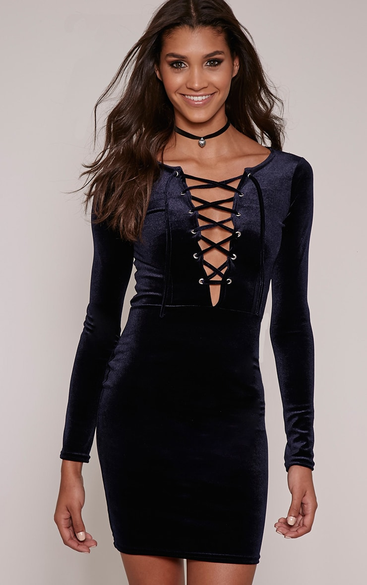 Morgana Navy Velvet Lace Up Mini Dress 1