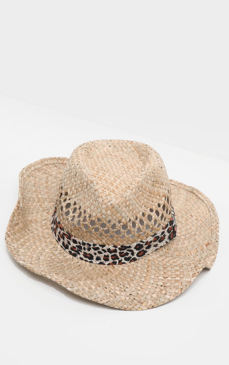 Tan Western Leopard Ribbon Straw Hat 2