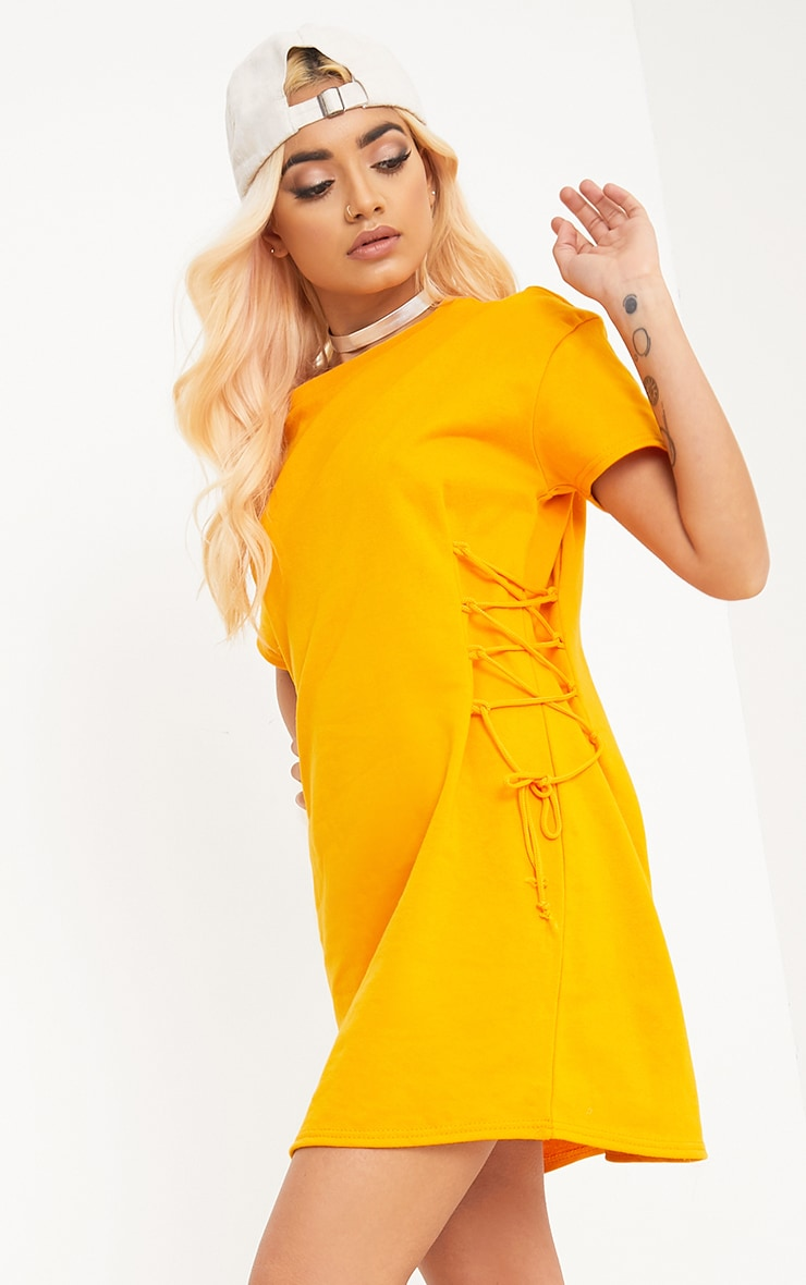 Martinia Orange Lace Up Side Jumper Dress 1