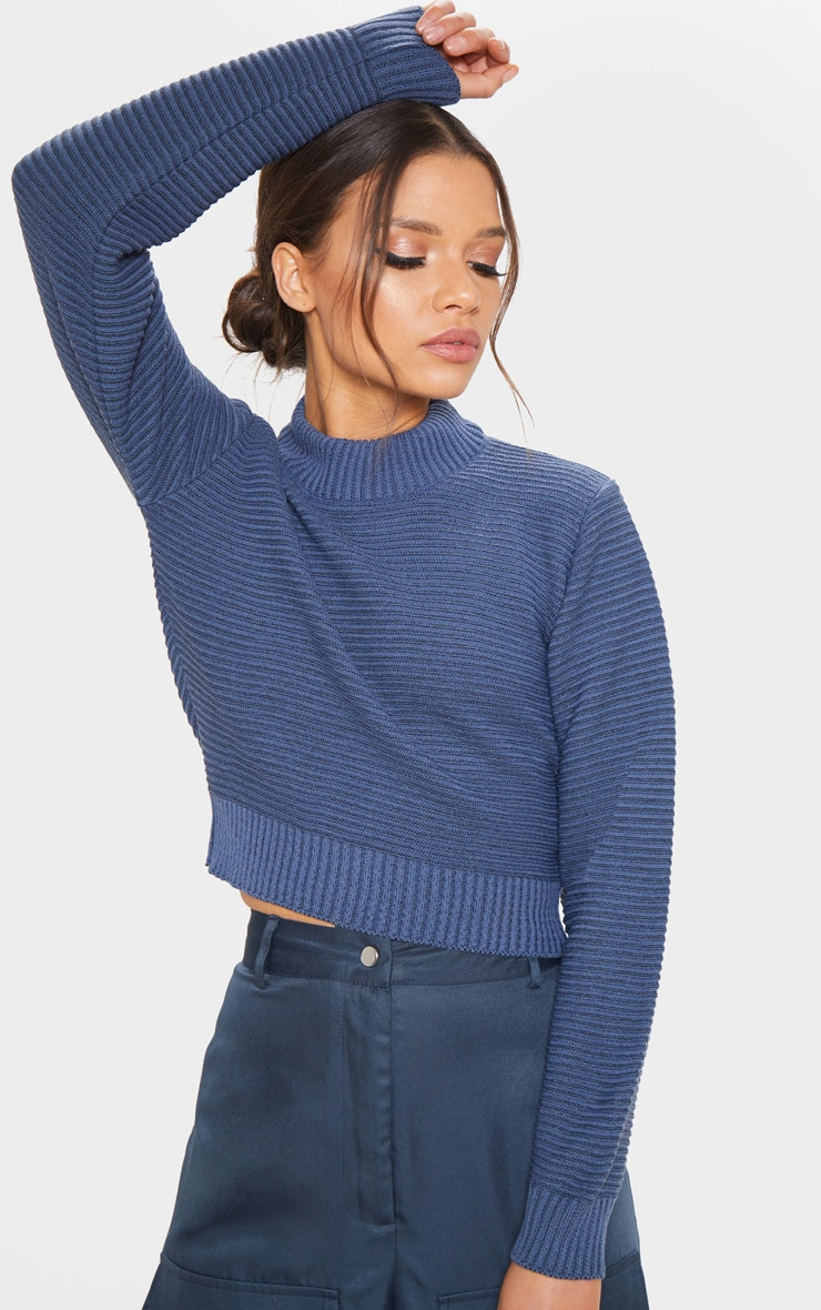 Petrol Ribbed Cropped Knitted Jumper  1