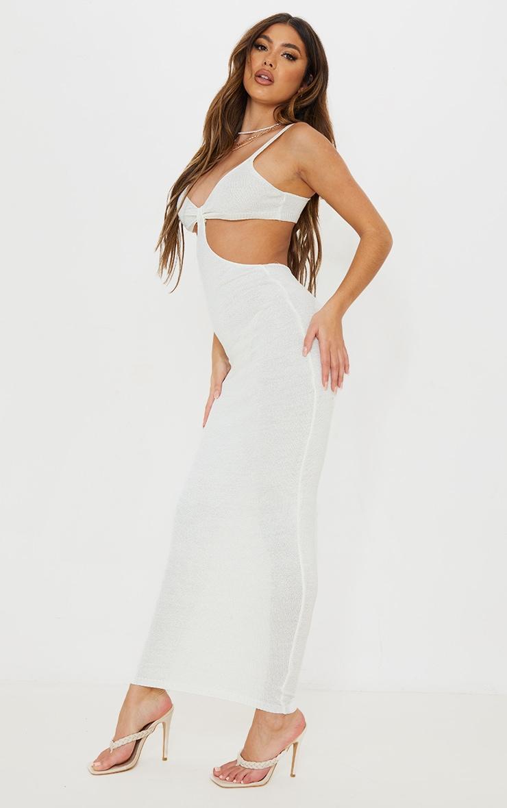 White Sheer Knit Cut Out Maxi Dress 3