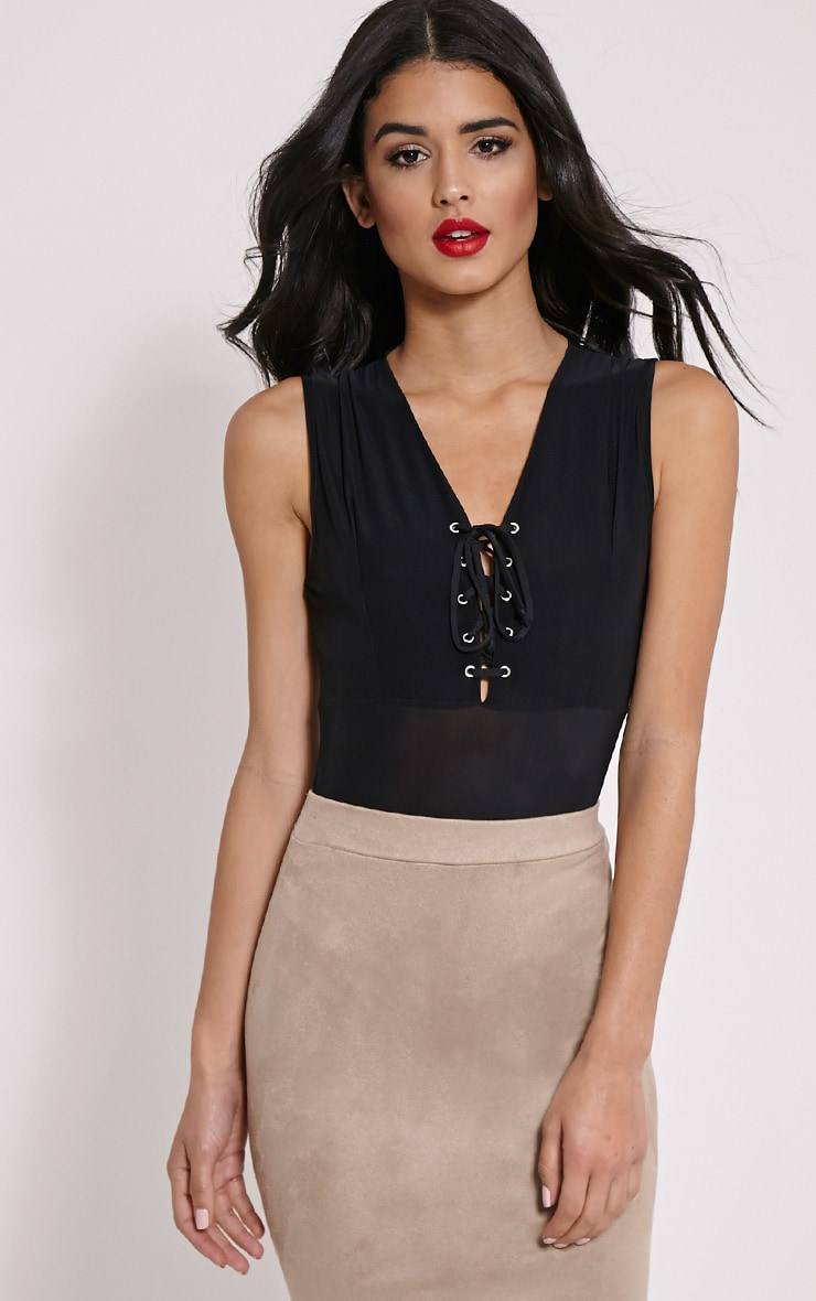 Rita Black Slinky Lace Up Bodysuit 3