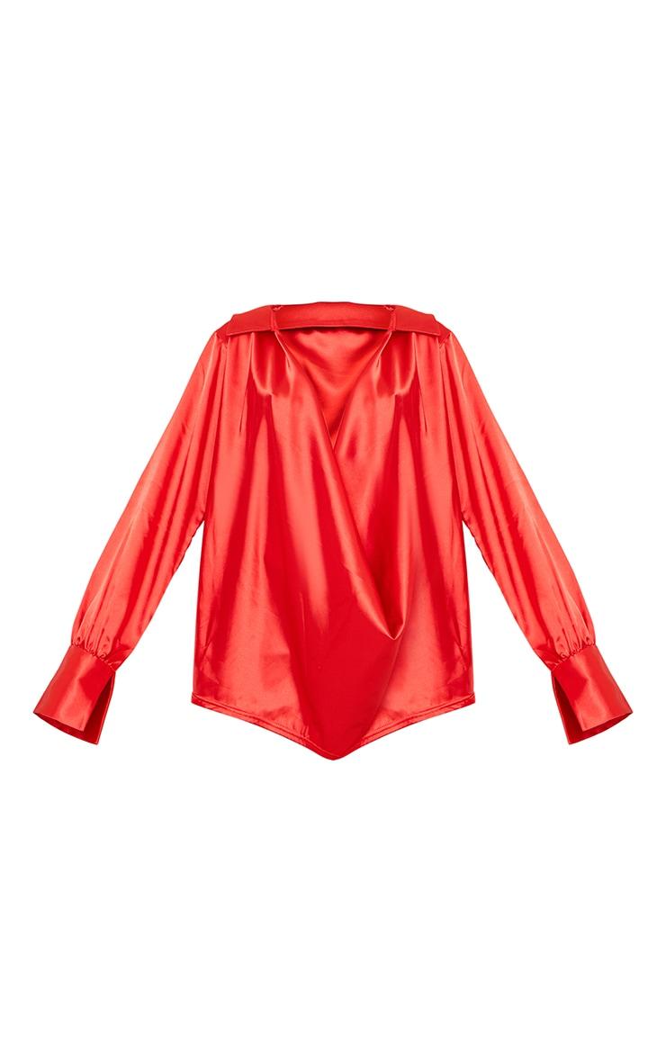 Red Extreme Cowl Long Satin Shirt 5