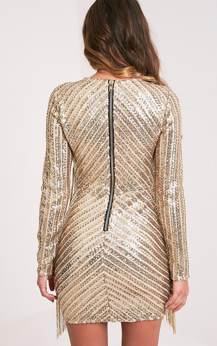 Lorannia Gold Premium Sequin Fringed Bodycon Dress 3