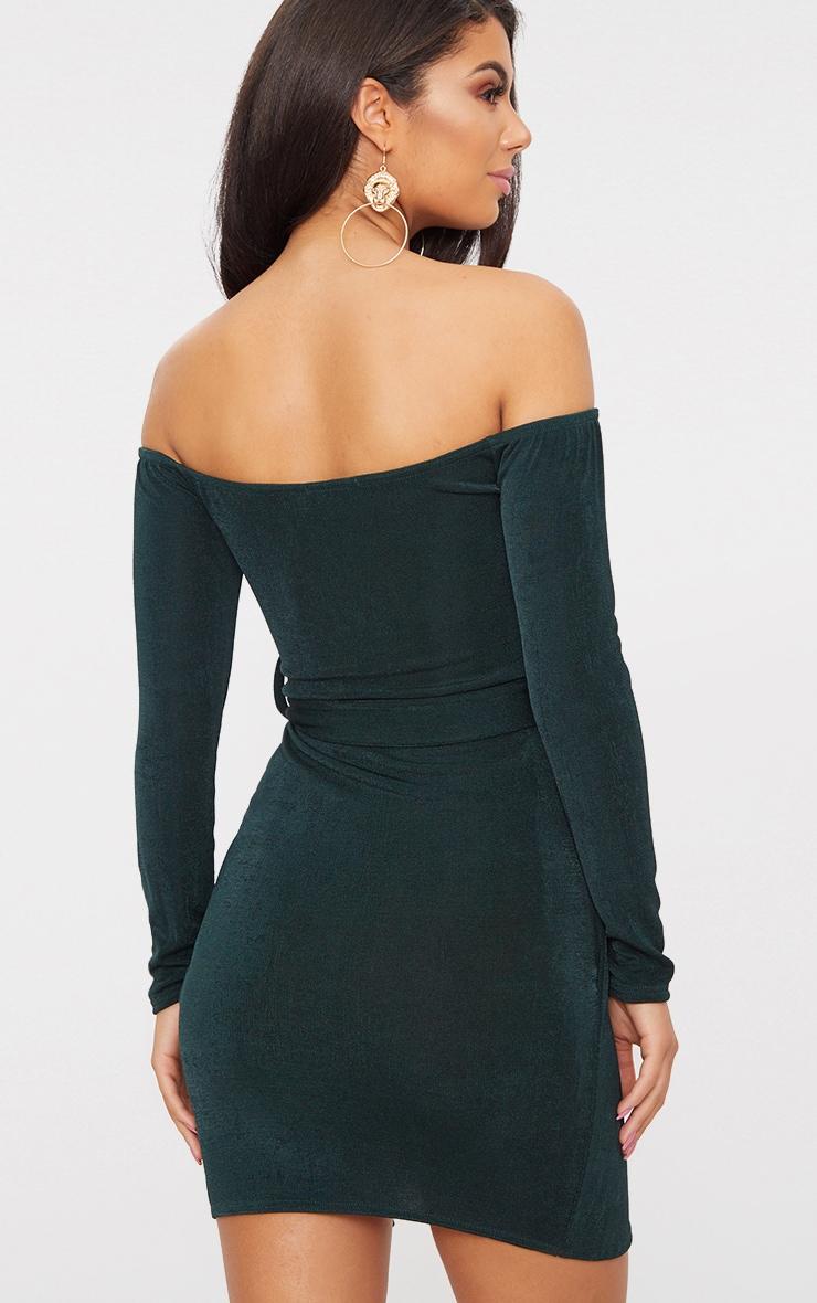 Emerald Green Sweetheart Tie Waist Bardot Bodycon Dress 2