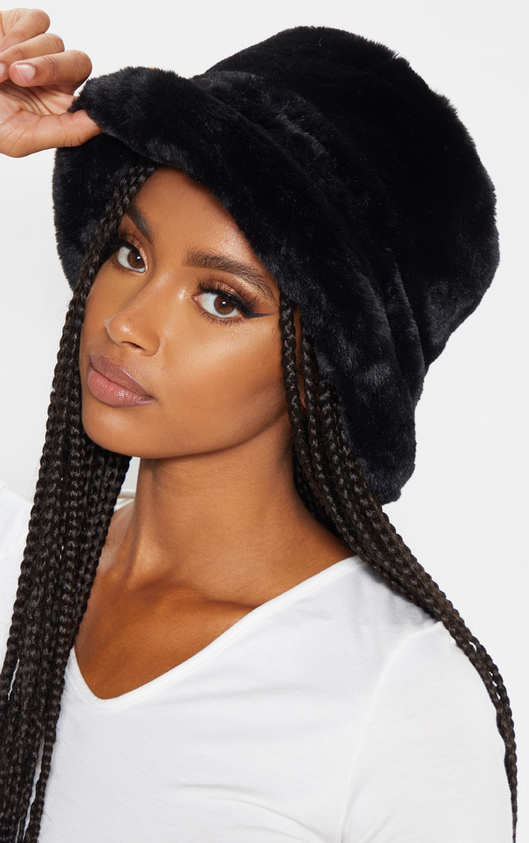 Black Faux Fur Bucket Hat Accessories Prettylittlething Qa