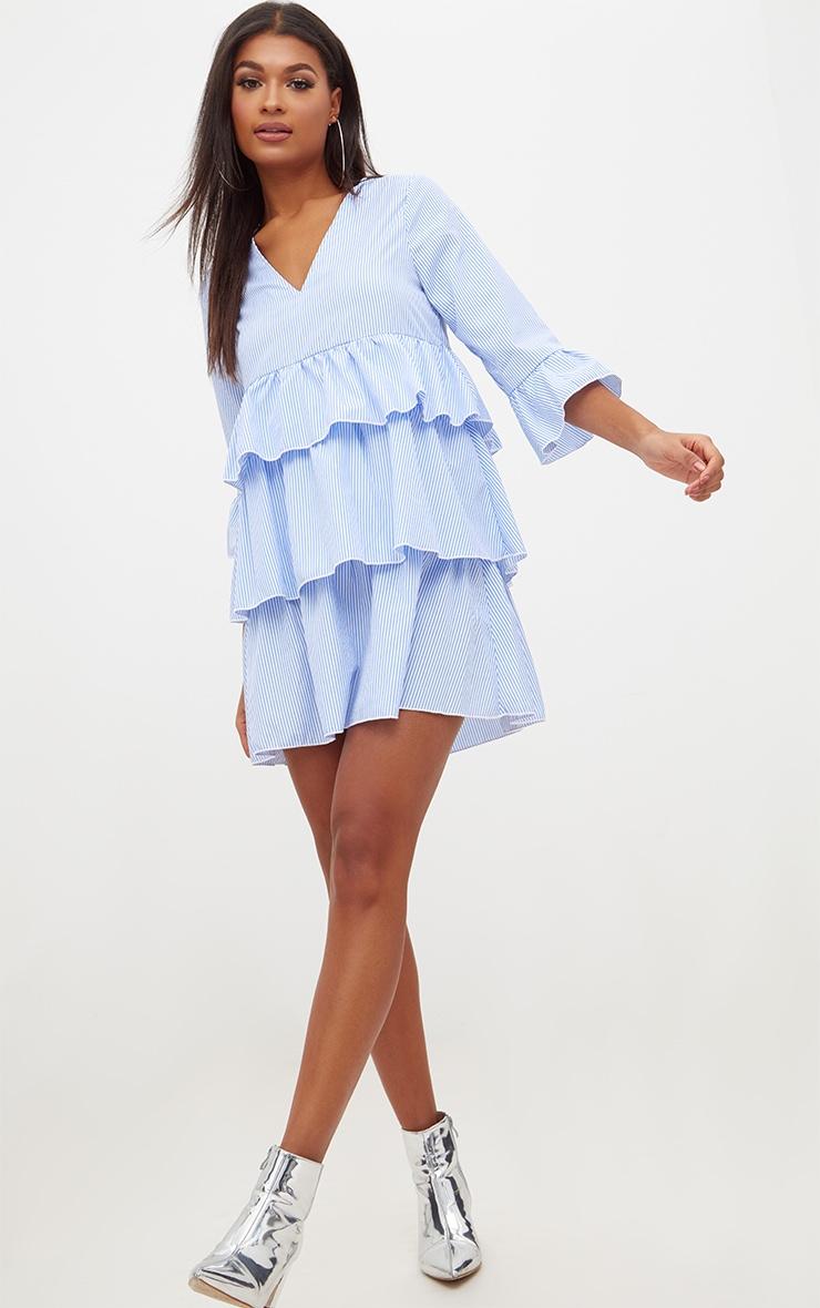 Blue Striped Frill Smock Dress 4