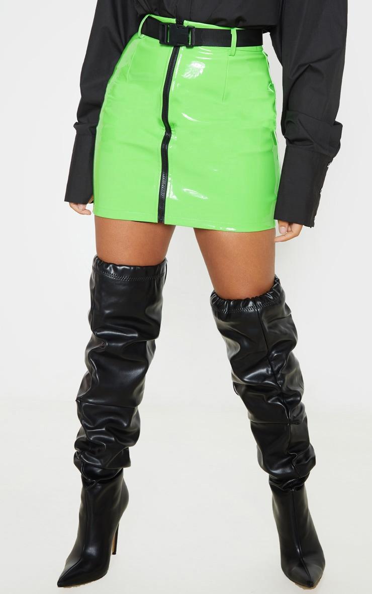 Petite Neon Green Vinyl Zip Front Belted Mini Skirt 2