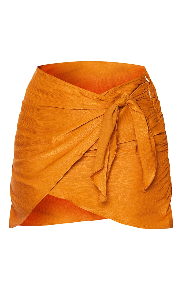 Burnt Orange Woven Shimmer Wrap Over Tie Waist Mini Skirt 6