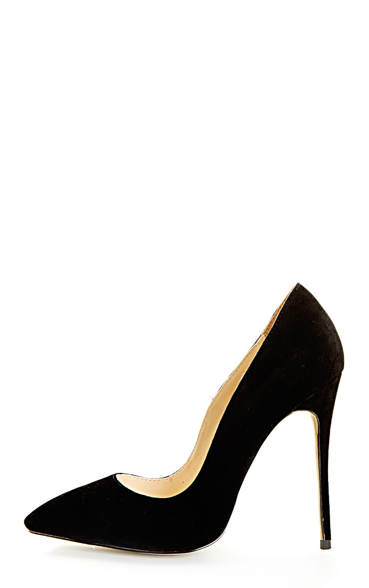 Sophie Black Suede Heeled Stiletto  1