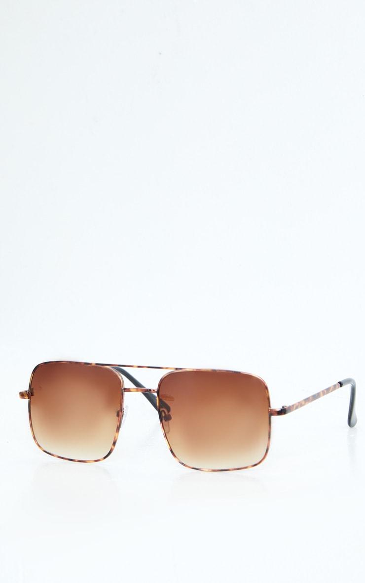 Brown Tortoise Double Bar Square Frame Sunglasses 2