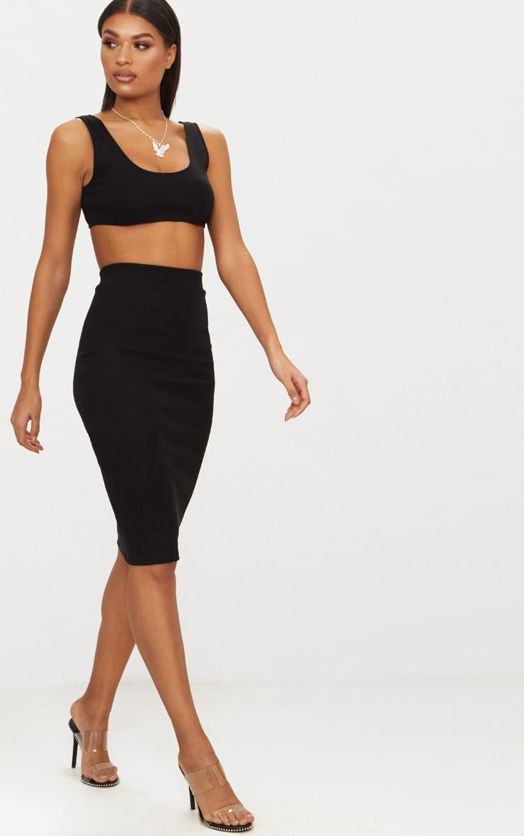 Black Second Skin Cut Away Crop Top 4